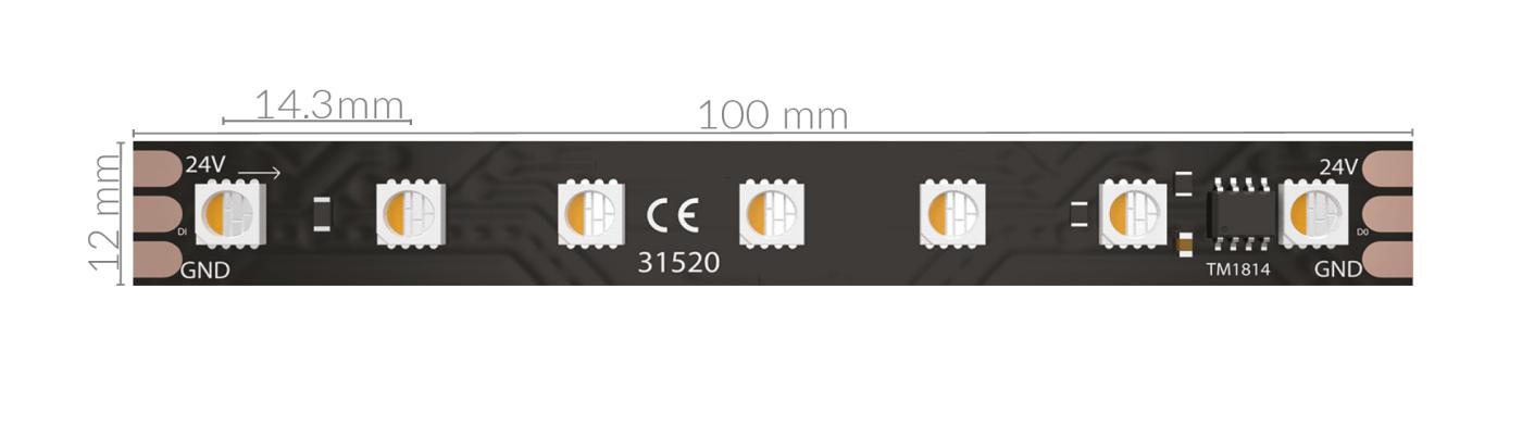 DIGIDOT LED STRIP RGBW HR 5M 24V BLACK PCB